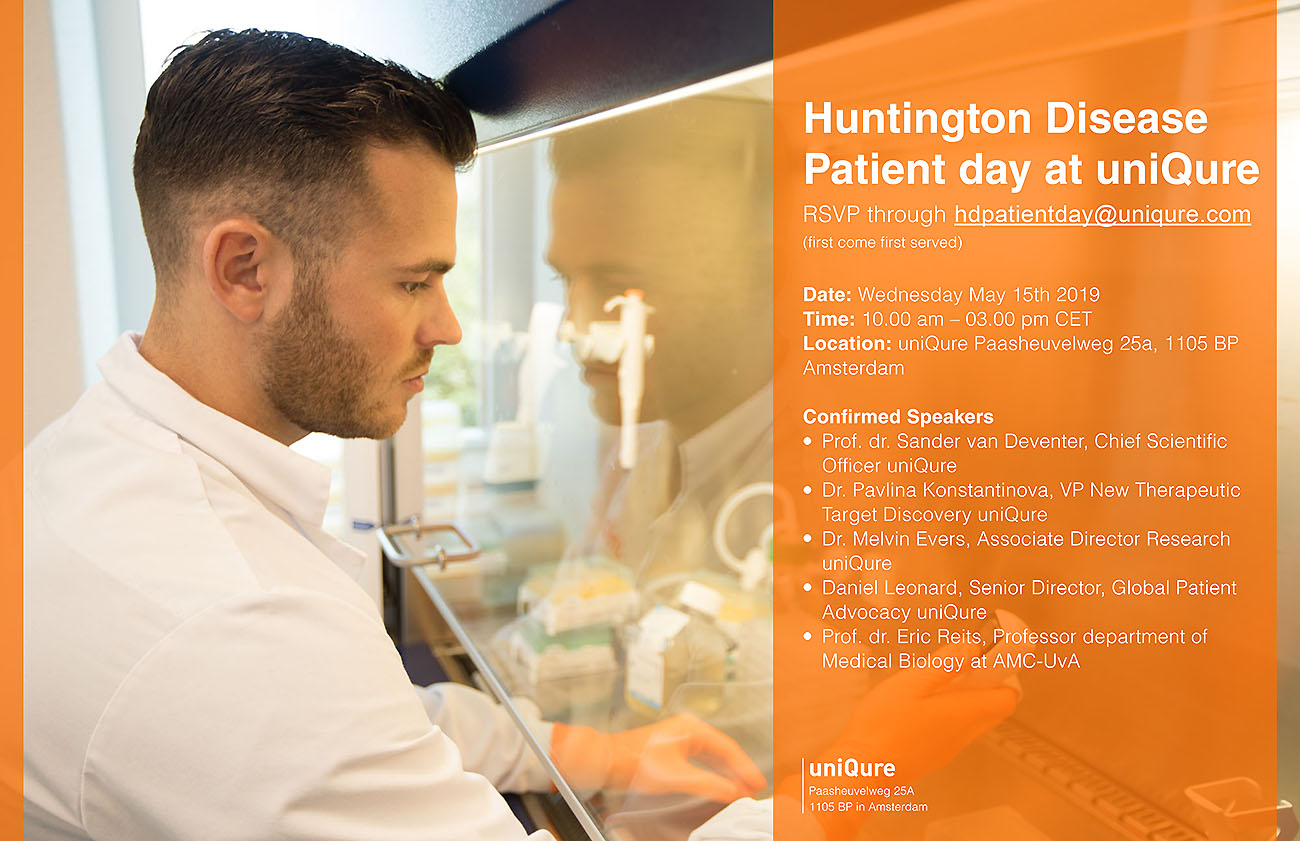 Formal invite Huntington Disease Patient day at uniQure small